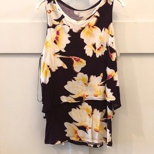 Juicy Couture Sleeveless Purple Yellow Floral Tank